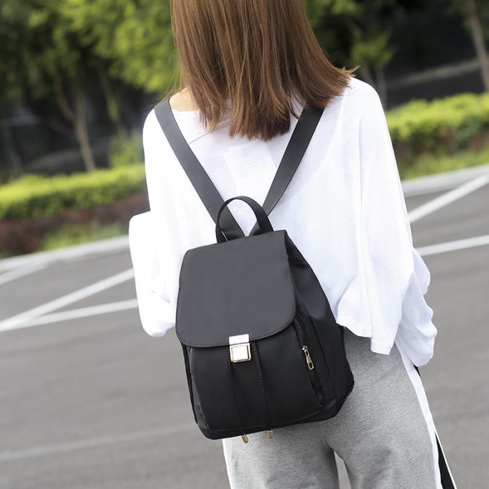小背包 新款學院風抽帶女書包 牛津布大容量旅行包 韓版女款雙肩包 休閒百搭背包 尼龍布後背包