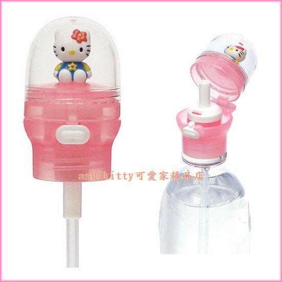 asdfkitty可愛家☆ KITTY立體娃娃寶特瓶吸管頭-直接裝在保特瓶飲料上-不怕灑-日本正版商品
