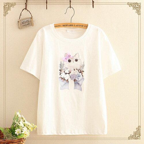 貼布蝴蝶結印花圓領短袖T恤(4色F碼)【OREAD】 2
