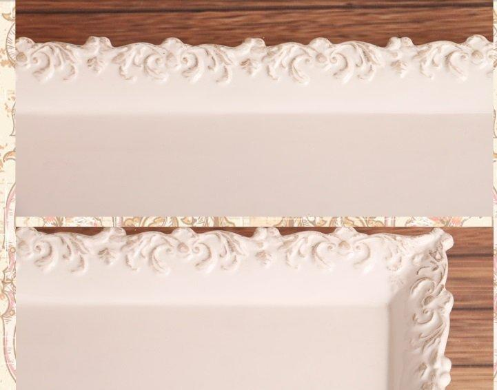 複古浮雕花紋陶瓷花邊長方盤 長條裝飾水果盤 下午茶盤 點心盤2個組