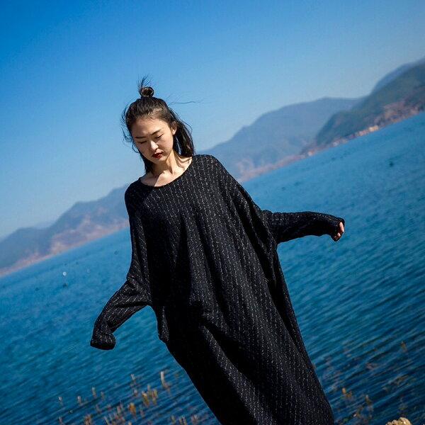 [U'NIDO]原創手作日常隨心立裁寬鬆長洋裝-針織條紋天然純棉時尚簡約日常白搭自在舒適暖心禮物