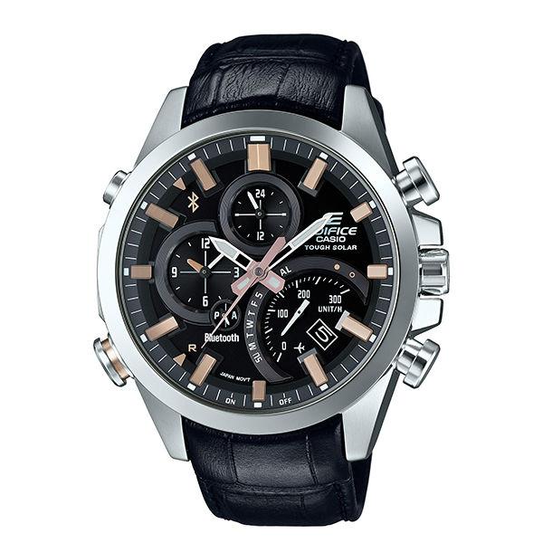 CASIO EDIFICE EQB-500L-1A太陽能藍牙指針腕錶/黑面48mm