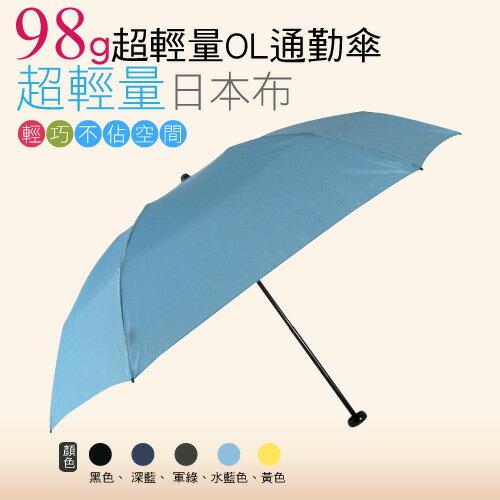 【momi宅便舖】98G超輕量通勤傘(水藍色) / 抗UV /MIT洋傘/ 防曬傘 /雨傘 / 折傘 / 戶外用品