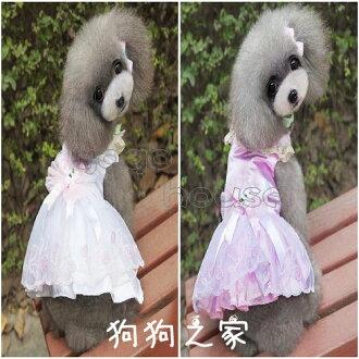 ☆狗狗之家☆珍珠領 蝴蝶結 緍紗 蕾絲 禮服