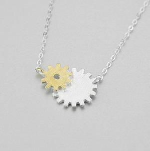 Tokyo Alice 925純銀齒輪項鍊,項鏈立體飾品首飾銀飾甜美(s0000116)