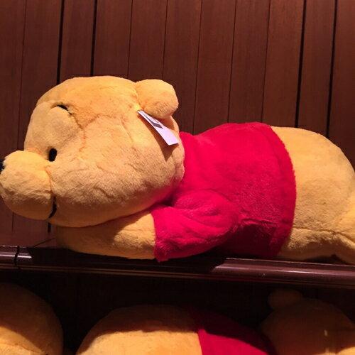 【真愛日本】15090600006   樂園限定趴姿棉柔娃-維尼XL     迪士尼 維尼家族 POOH 娃娃 抱枕 枕頭 靠枕