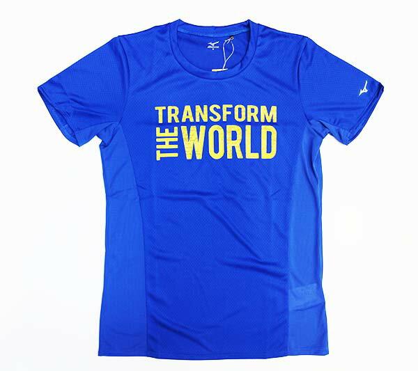 【領券最高折$430】MIZUNO 美津濃 男 路跑短袖T恤 Transform The World 土耳其藍 高質感 J2MA600226【陽光樂活】