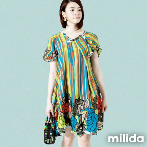 【Milida,全店七折免運】-印花系列-澎袖裙襬洋裝 0