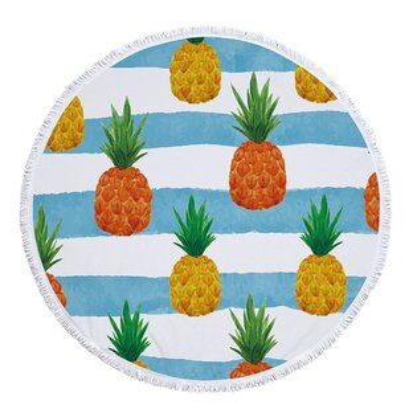 沙灘巾彩色水果印花流蘇野餐巾海灘巾圓形沙灘巾150*150【YC025】BOBI0403