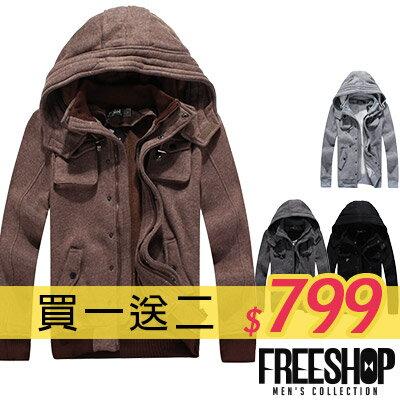《Free Shop》Free Shop 【AM88027】買一送二(圍巾+上衣) 韓版高磅數厚棉磨毛內裏防寒保暖雙口袋連帽韓版外套‧四色