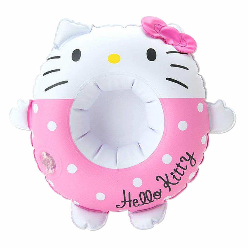 Hello Kitty粉紅點點充氣式游泳圈造型杯架/杯墊/海灘泳池小物