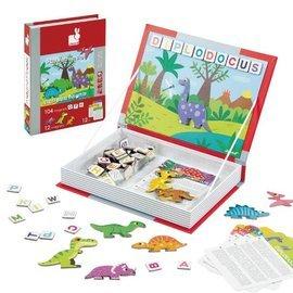 【淘氣寶寶】法國Janod創意兒童智玩磁鐵遊戲書-恐龍拼字
