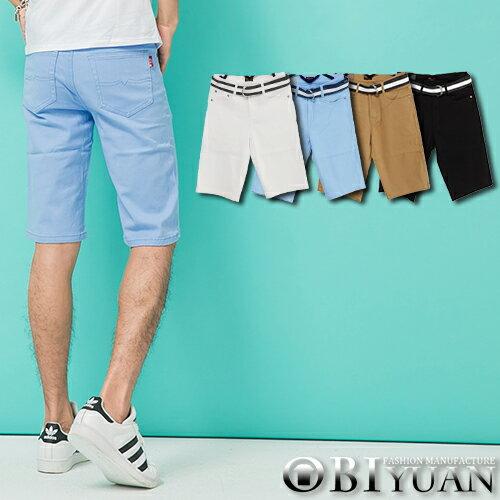 彈性短褲【P1574】OBI YUAN 韓版專櫃厚磅材質簡約素面休閒褲共4色