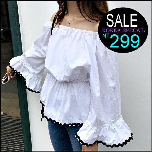 ☆克妹☆現貨+預購【ZT35604】韓國chic名媛小香風性感一字領收腰喇叭袖娃娃上衣