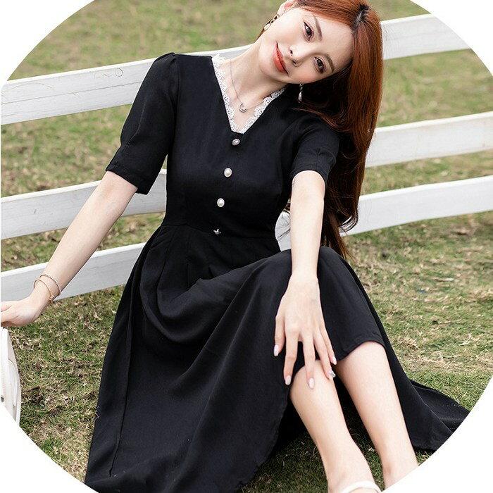 白色花邊領黑色長洋裝[99170-QF]灰姑娘
