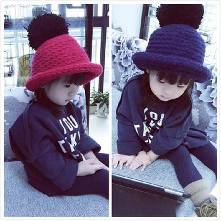新款兒童寶寶男童女童 保暖 針織帽 毛線球帽