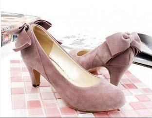 Pyf♥甜美系素色細絨面圓頭寬楦大蝴蝶結低跟鞋4243大尺碼女鞋