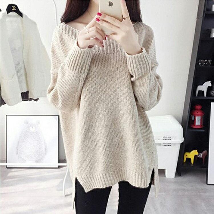 一字領寬鬆長袖針織衫 (3色)