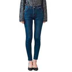鉛筆褲--時尚個性舒適水鑽扣刷破皺褶印染盾型口袋顯瘦牛仔長褲(藍M-3L)-C105眼圈熊中大尺碼