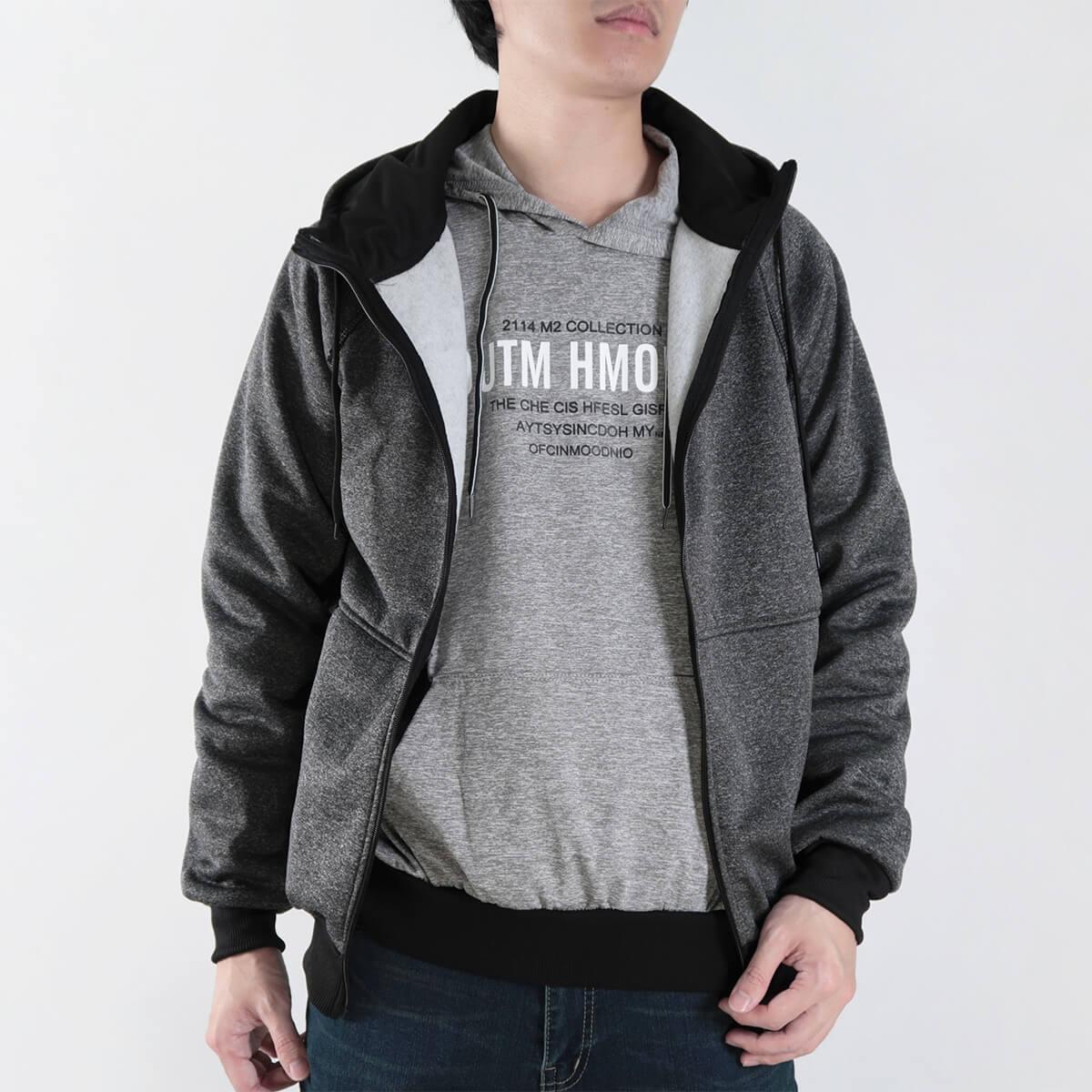 內刷毛連帽保暖外套 夾克外套 運動外套 休閒連帽外套 刷毛外套 黑色外套 時尚穿搭 WARM FLEECE LINED JACKETS (321-8916-01)淺灰色、(321-8916-02)深灰色、(321-8916-03)黑色 L XL 2L(胸圍46~50英吋) [實體店面保障] sun-e 2