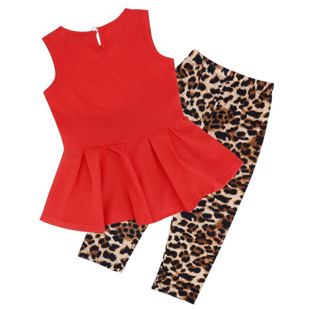 Kids Wear O-Neck Sleevless Waist Pleated Tank Tops Leopard Slim Pants 2 Pieces Set 0