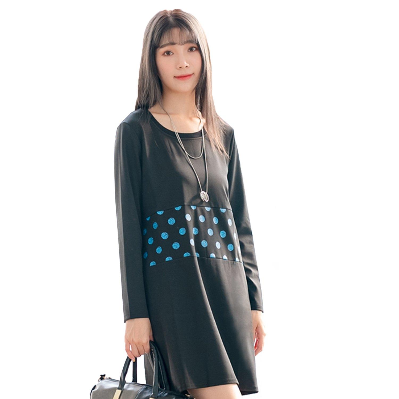 休閒洋裝--舒適寬鬆羅紋拼接造型圓點印花口袋圓領長袖連衣裙(黑M-3L)-A362眼圈熊中大尺碼 0