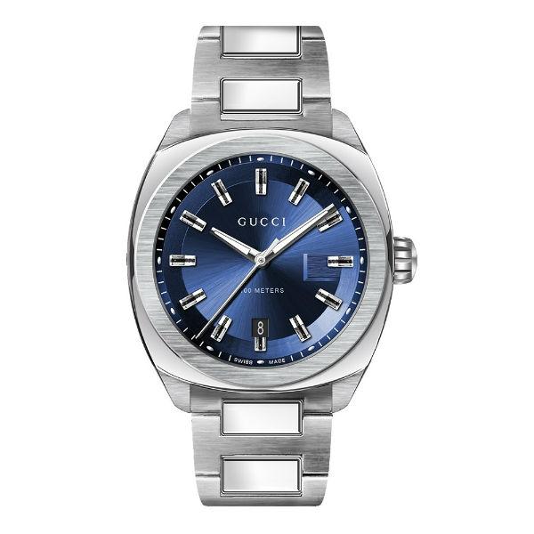 Gucci古吉YA142303時尚GLOGO面盤經典腕錶藍面41mm