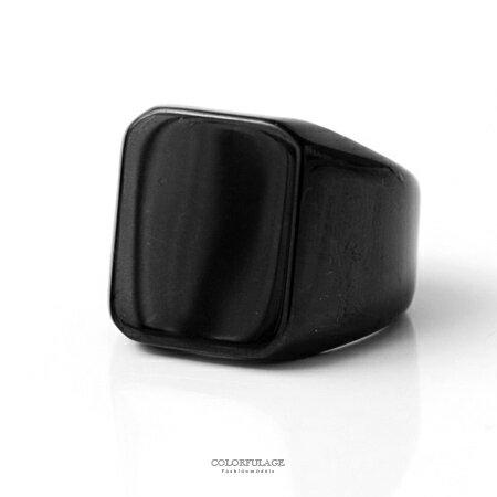 戒指 霸氣全黑系素面寬版方型白鋼製造型戒指 個性流行款單品 柒彩年代【NC194】抗過敏抗氧化 - 限時優惠好康折扣