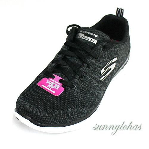 SKECHERS(女)訓練鞋FlexAppeal2.0寬楦運動鞋健身-12756WBKW黑[陽光樂活]