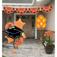 Party City Orange Congrats Grad Graduation Outdoor Decorating Kit, With Bunting