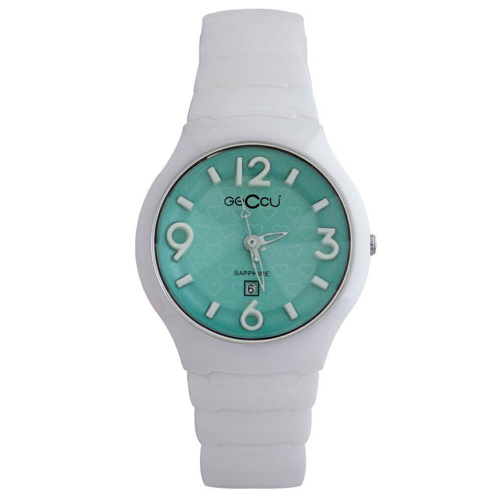 GECCU TC-1115 俏麗可愛心型切玻鏡面白色陶瓷錶帶*4色 2