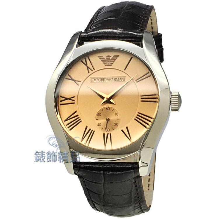 【錶飾精品】ARMANI手錶/亞曼尼經典款小秒針香檳金面咖啡皮帶男錶 AR0645 全新原廠正品 生日 情人節 生日 禮物 禮品