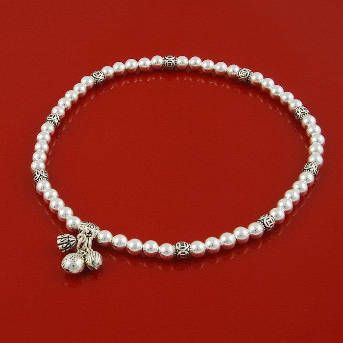 手鏈銀光面珠子多層手鏈男女手串佛珠念珠