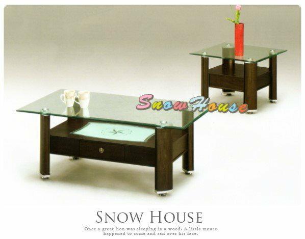 ╭☆雪之屋居家生活館☆╯AA424-07 047A伯爵胡桃玻璃大茶几(強化玻璃)/方桌/玻璃桌/置物櫃/130公分寬