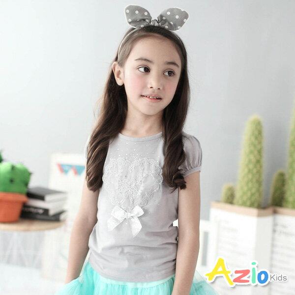 《Azio Kids 美國派》上衣 愛心蕾絲水鑽公主袖棉T(灰)