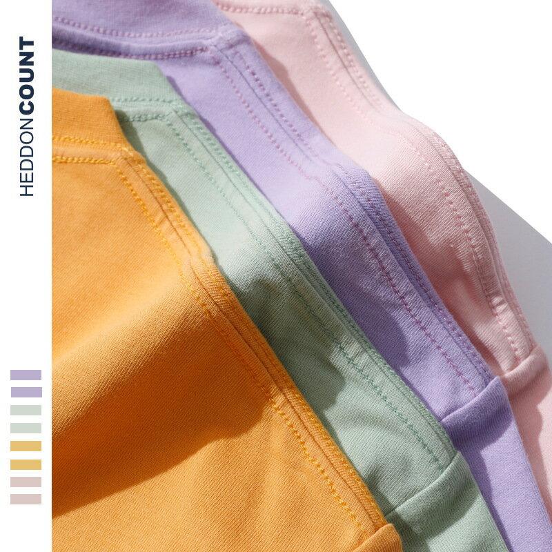 半袖衣服新款210G純棉寬鬆圓領紫丁香純色男式t恤短袖
