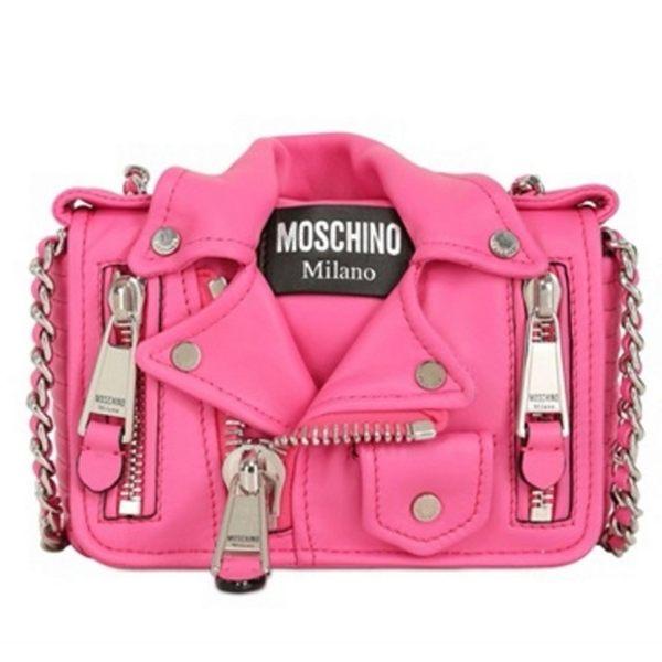 【MOSCHINO】15SS走秀系列-騎士外套型斜背包MINI(芭比糖果粉色) A7497 8002 0209
