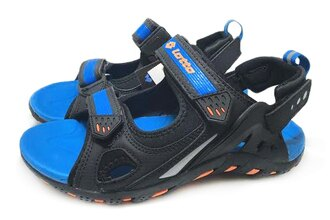 【巷子屋】義大利第一品牌-LOTTO樂得 男款野趣兩穿式戶外運動涼鞋 拖鞋 [2290] 黑藍 超值價$398