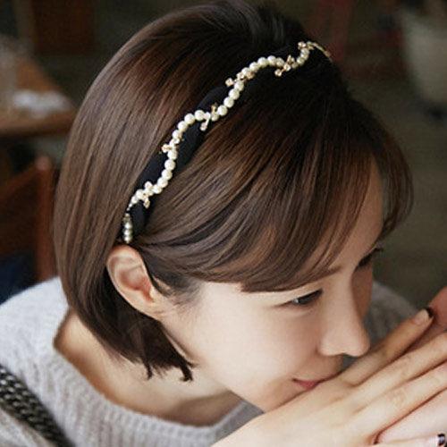 PS Mall 名媛氣質水鑽珍珠雪紡編織髮帶髮箍 髮飾 髮圈 ~G1779~ ~  好康折