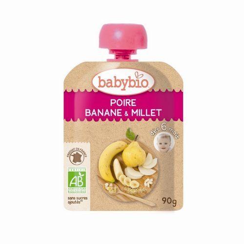 法國倍優Babybio有機洋梨小米纖果泥隨行包6m+