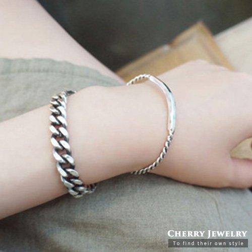 復古麻花絞繩兩件套手鍊手環【櫻桃飾品】【10382】