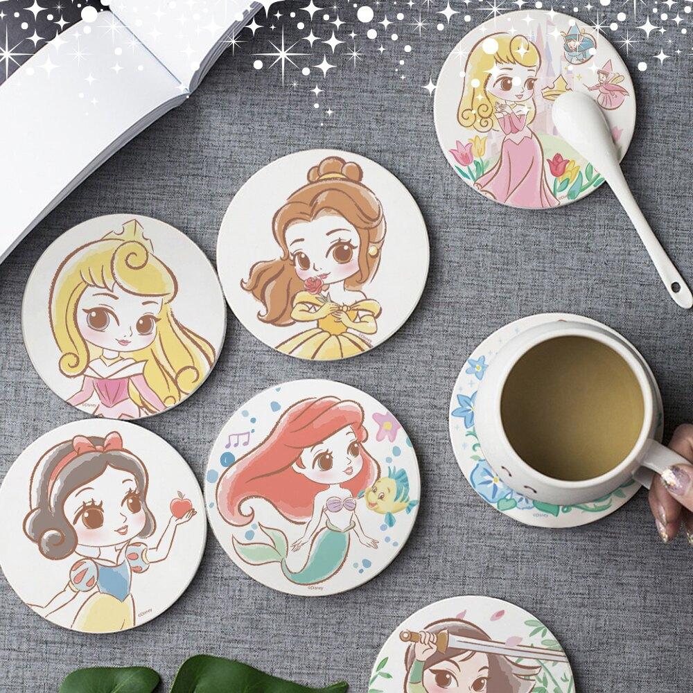 【買1送1 】迪士尼公主童話風珪藻土吸水杯墊 0