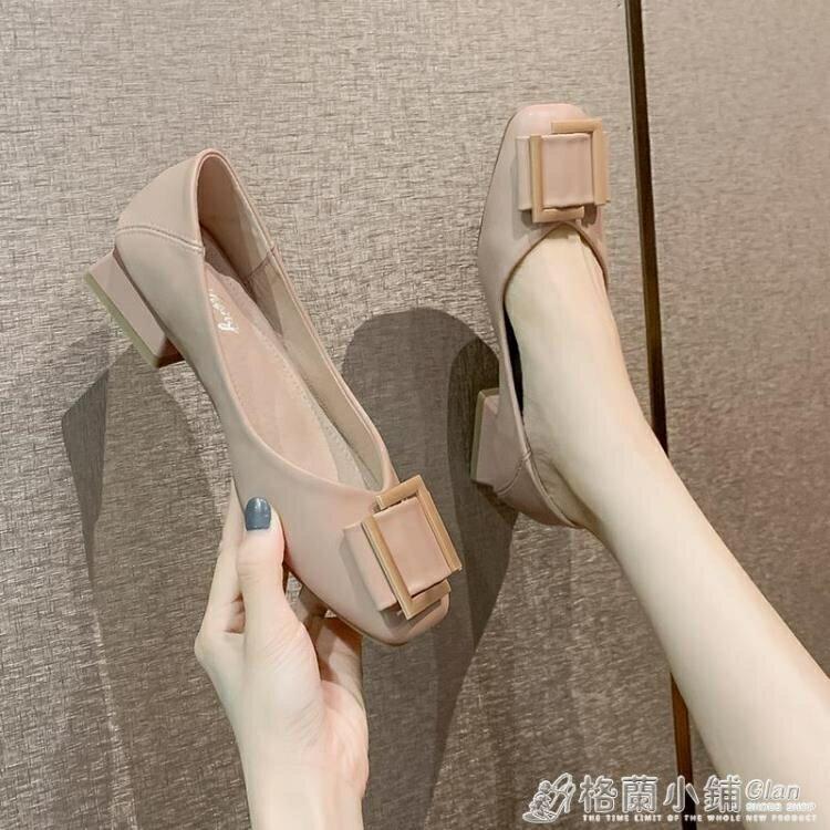 仙女淺口單鞋春秋新款百搭粗跟溫柔奶奶鞋休閒方扣韓版晚晚風