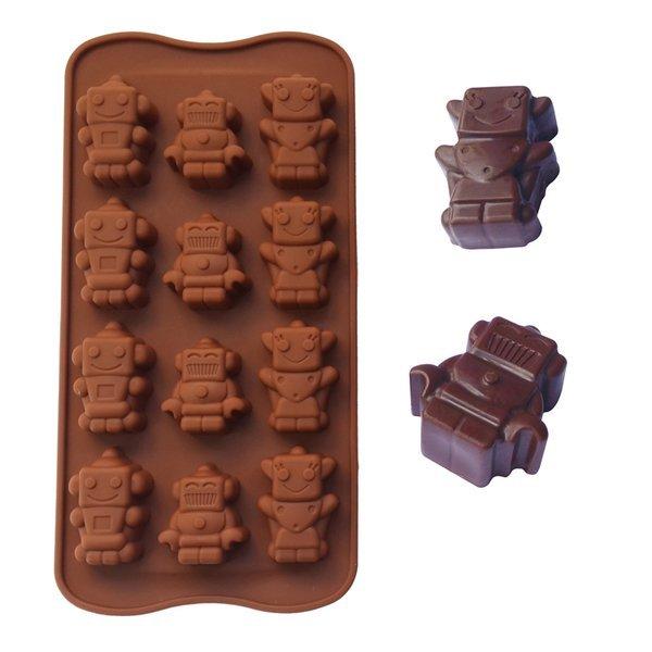 =優生活=食用級矽膠蛋糕模具 可愛機器人造型冰格 巧克力冰格 製冰格 製冰盒 果動模具 蛋糕模具 肥皂模