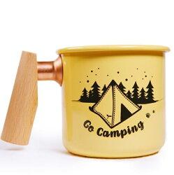 Truvii 木柄琺瑯杯400ml 木頭琺瑯杯/琺瑯咖啡杯/日系雜貨風馬克杯 400ml 單峰