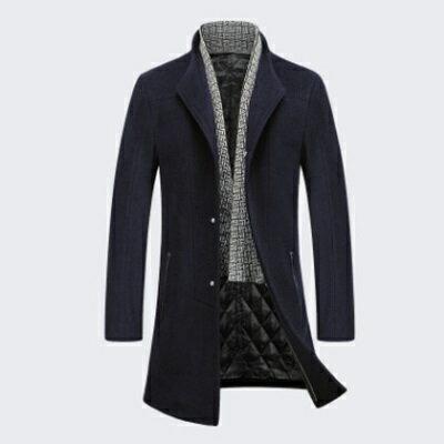 毛呢外套長版大衣-時尚個性修身單排扣男外套2色73ke8【獨家進口】【米蘭精品】