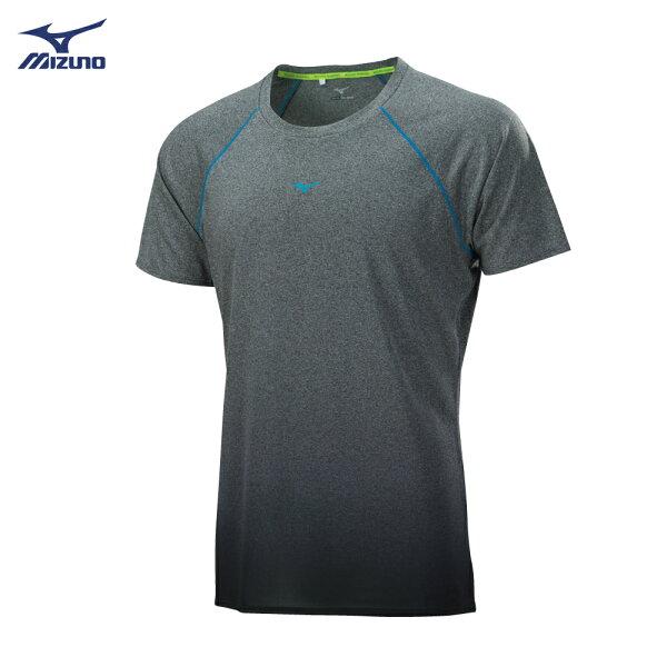 J2TA800405(中灰)吸汗快乾材質男路跑短袖T恤【美津濃MIZUNO】