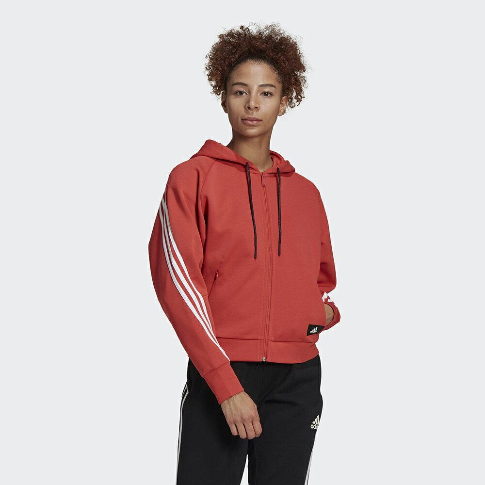 【領券最高折$400】ADIDAS 3-STRIPES FULL-ZIP 女裝 外套 連帽 休閒 拉鍊口袋 寬鬆 橘紅【運動世界】GJ5418