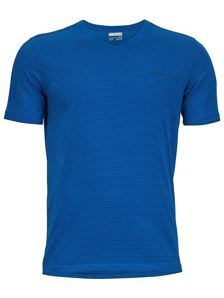 ├登山樂┤美國Marmot土撥鼠 Salt Point 男款V領短袖上衣 藍#53180-3963