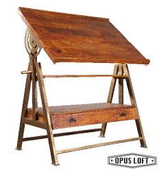 LOFT工業風 原木仿舊 製圖工作桌